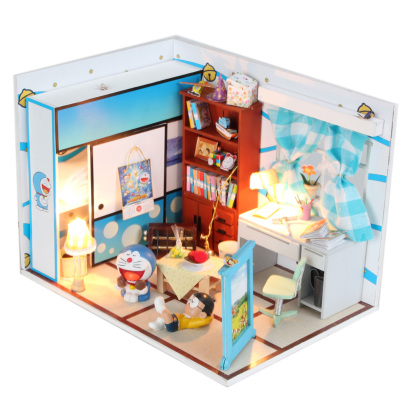diy hut dream Doraemon Doraemon duo assembled a dream Bear cartoon house model Nobita's room