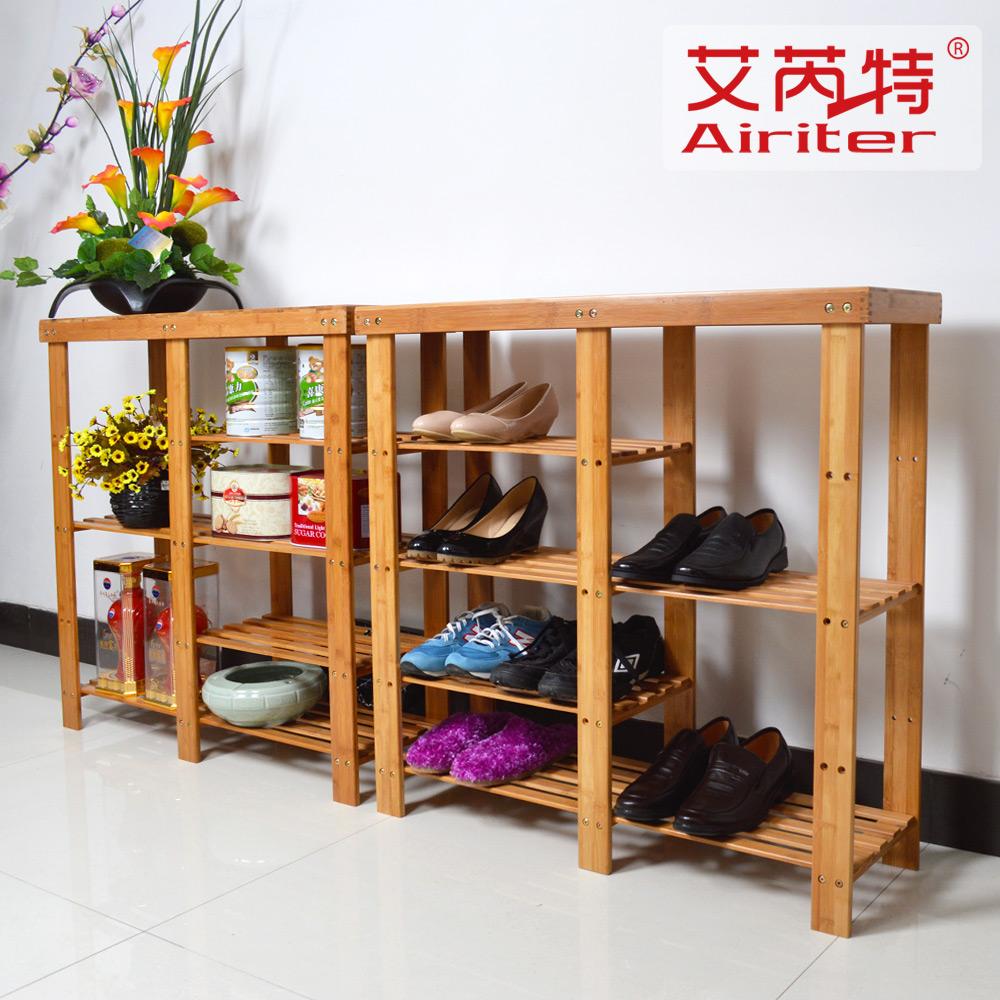 艾芮特 简易多层竹子楠竹鞋柜鞋架 竹条靴位鞋架 实木欧风
