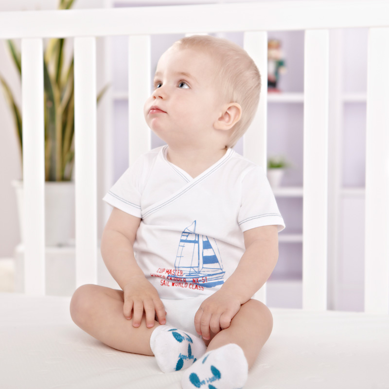 Ibaby jumpsuit triangle climb clothes cotton baby treasure organic cotton package fart short sleeve clothes Taobao Agents