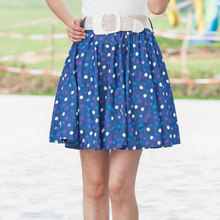 Trevor is lai fe Sweet summer wear the new color wave of dot skirt mercerized cotton denim skirt skirts