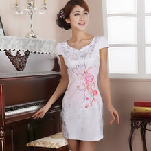 Lan smoke short white embroidered cheongsam improved fashion cheongsam dress summer 2013 new retro short paragraph daily