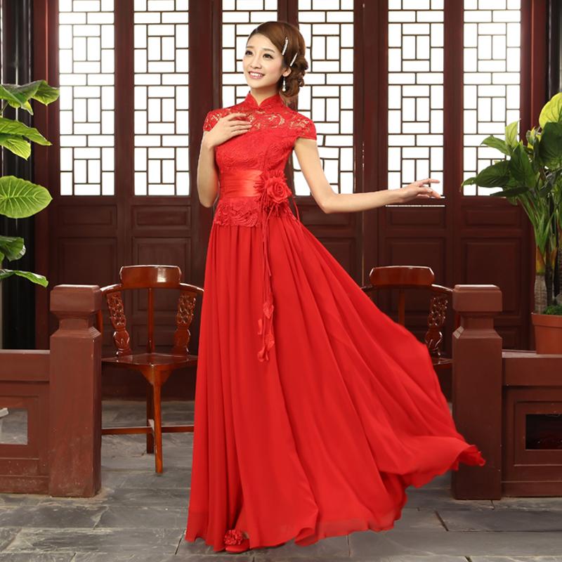 最新款新娘敬酒晚礼服中式改良旗袍宫廷镂空蕾丝修身韩版演出服