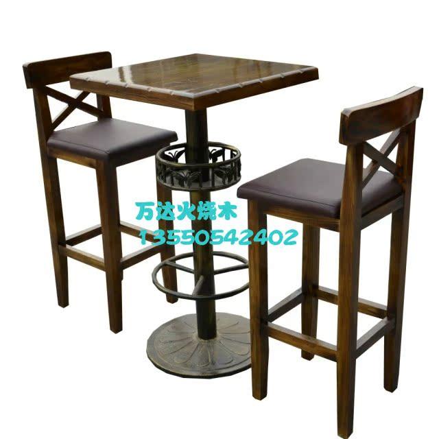Декор для бара Ванда карбонизированные деревянный стул дровяной деревянный стол и стул сочетание открытый стол и гостиная мебель стул