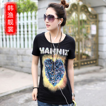 Han Yue Liang Sang summer female models round neck short sleeve t-shirt female Korean tidal loose big yards women's summer short-sleeve T-shirt