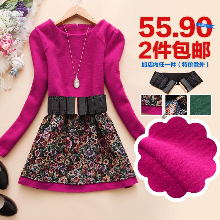 Женское платье 2 корейской версии его Чан f857 осень/зима 2013 новые женские шерстяные базовый t цветок пояса платье j-31 Осень 2013 Шерсть