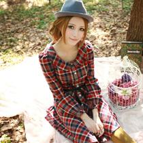 年度盛典恋上鱼秋冬新款 娃娃领 格子蝴蝶结修身长袖高腰连衣裙