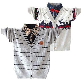 大特价男款小童新款秋款秋装男童假两件儿童毛衣宝宝童装棉线衫