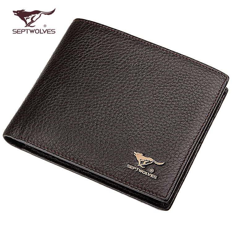 Septwolves wallet men's short leather genuine leather horizontal wave wallet vertical Korean wallet
