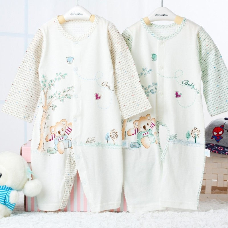 Labiymb Cute Cartoon Printing Long Sleeve Single Breasted Cotton Baby Jumpsuits