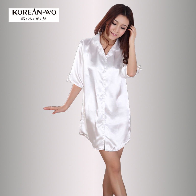 Han Wo summer silk white shirt ladies silk pajamas home services