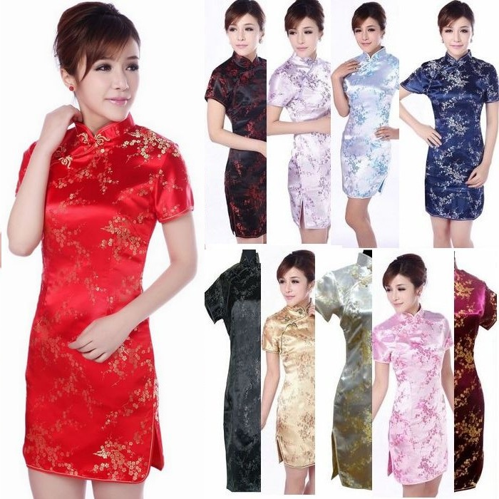 Платье Ципао Китайские женщины случайный ^ изменение сливы парча церемониальный костюм фото красной ленты с короткими рукавами cheongsam