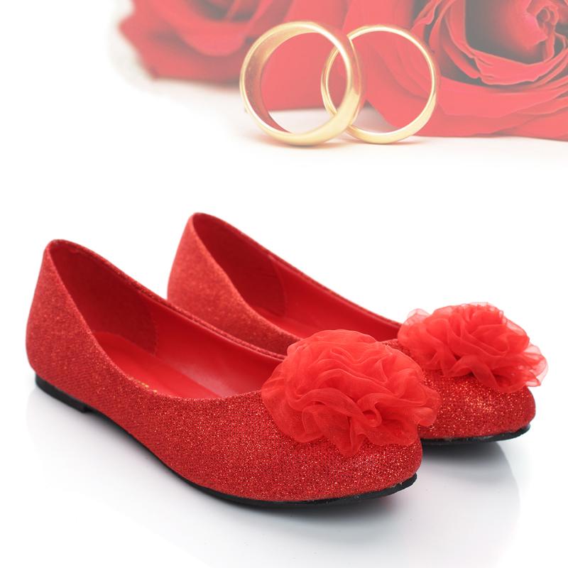 婚鞋 红色 平跟大红色平底新娘鞋子结婚鞋旗袍鞋大码婚纱红鞋单鞋