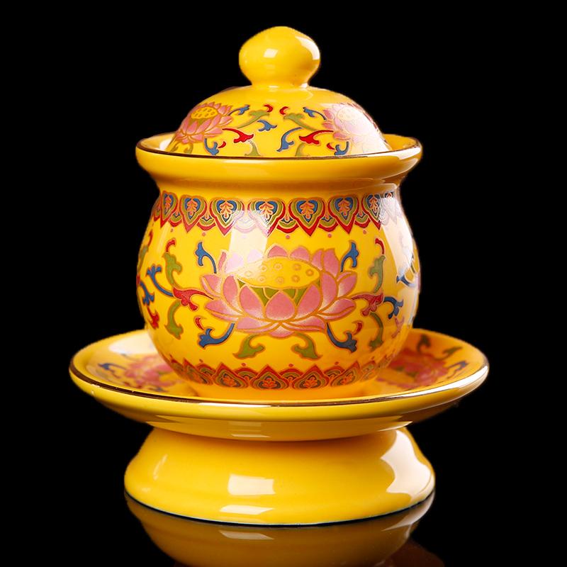 Кувшины для омовения рук, Чашки для святой воды Кубок Lotus Будды поставляет high-end средних Хуан Tangcai водоснабжение воды Дабей чашки расписной керамики