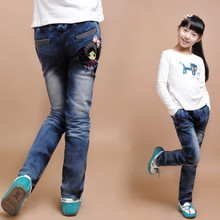 Burst models of child jeans female big boy pants girls jeans girls 2013 spring trousers