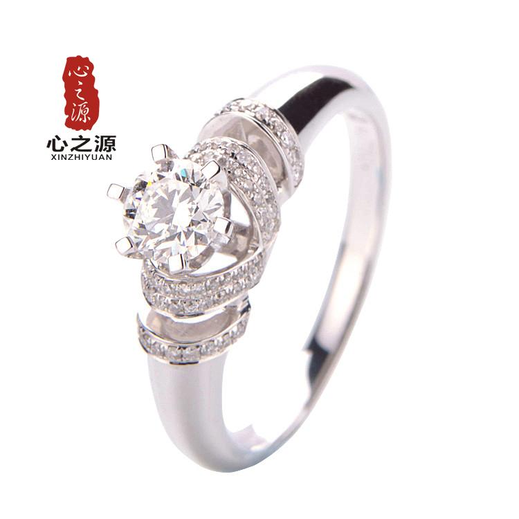 心之源珠宝旗舰店 18K白金 42分女戒 钻石戒指 结婚戒指钻戒 正品