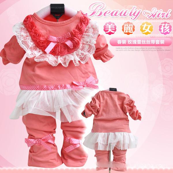 детский костюм «Mu» младенца девочек Детская одежда Весна 2013 хлопок досуг одежда кружева набор