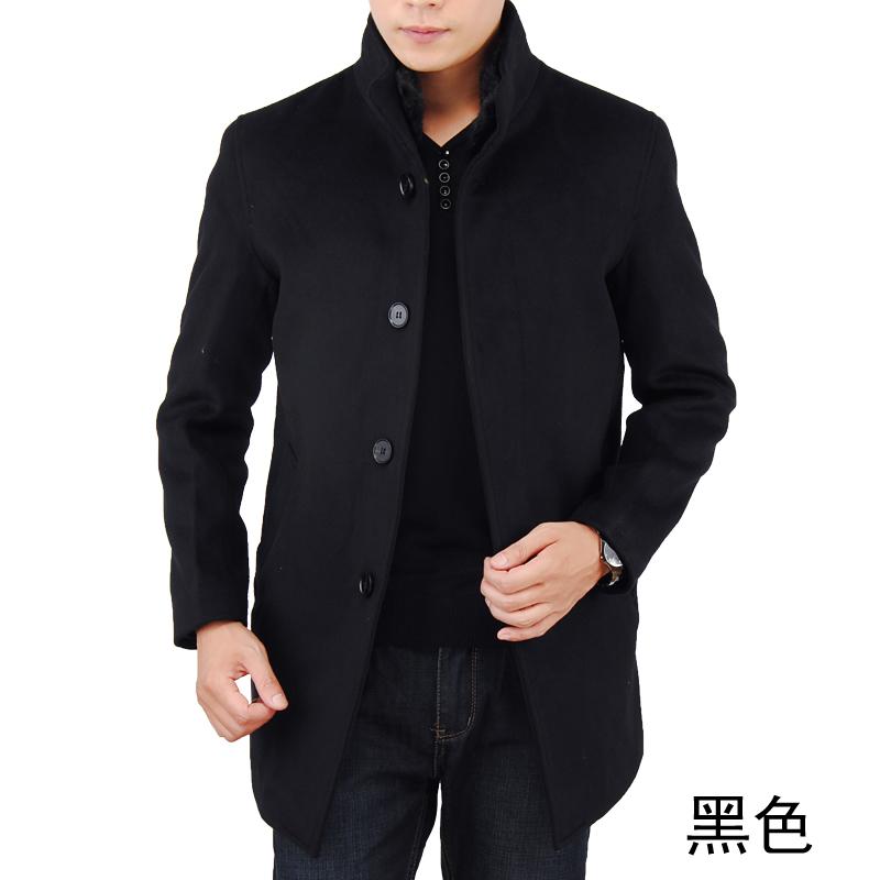 2013新款柒牌男装外套男士毛呢大衣中长款纯色外套休闲男装53072