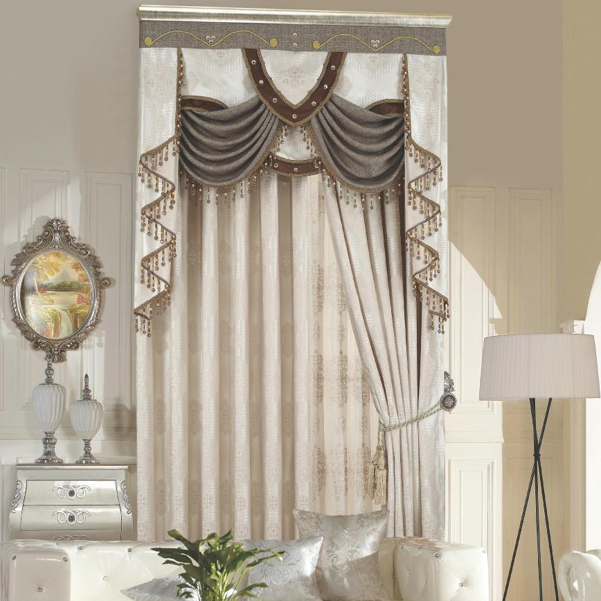 新款古典欧式奢华别墅房间客厅装饰典雅大气遮光提花布艺窗帘定制图片