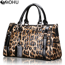 Magic fox genuine special full leather lady bags handbags diagonal Europe Business Handle Leopard Tote Bag