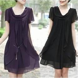Skirts short sleeve big size korean style liberal temperament solid color dress