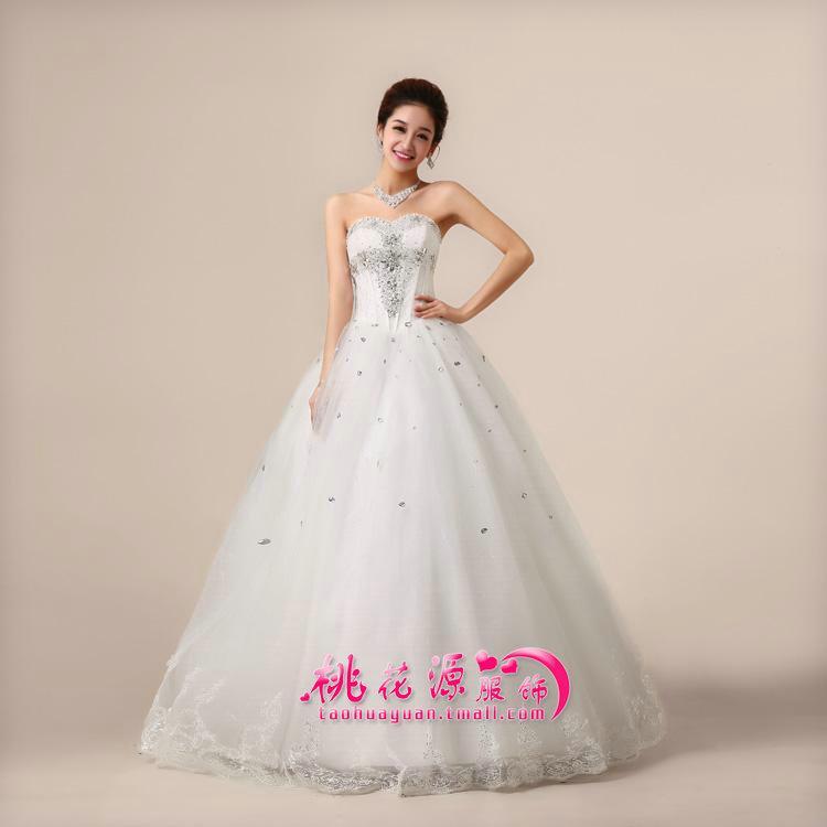 桃花源婚纱礼服 结婚季 2013新款上身带钻孕妇可穿韩式抹胸束身白菜价