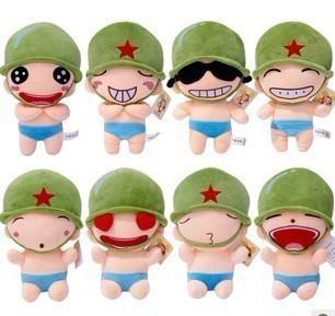 爆款8种qq表情炮炮兵公仔婚庆娃娃生日礼物毛绒玩具礼袋套装