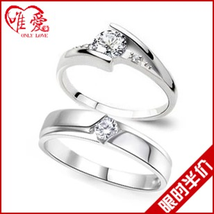 唯爱 挚爱一生 韩版925纯银情侣戒指结婚季 潮人女 情侣对戒男 指环饰品