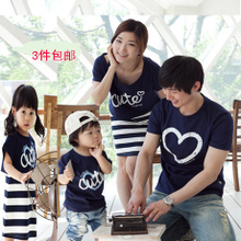 Family Pack Family fitted summer spring 2013 mother of women mother-to-child fitted short-sleeved T-shirt striped skirt