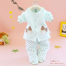 2013 the new children's clothing fashionable bear 861 bamboo fiber open warm two-piece before comma girl