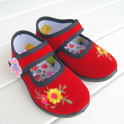 Old Beijing cloth shoes embroidered shoes baby girls in traditional costume dance shoes shoes shoes red treasure Fubu