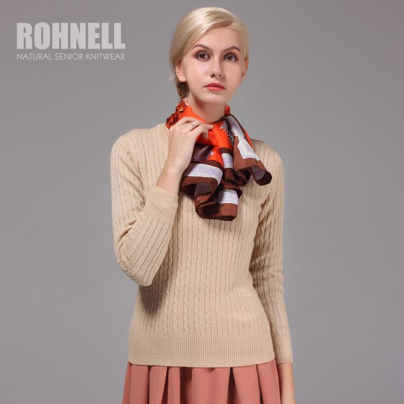 若年美丽诺纯羊毛衫女圆领打底衫针织衫复古麻花绞花修身毛衣秋冬