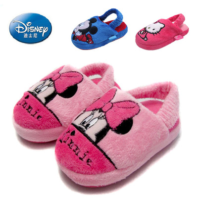 Cheap authentic Disney children's shoes soft bottom short plush padded shoes for boys and girls baby warm home cotton slippers