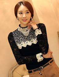 Necklace Korean style thick long sleeve lace t shirt