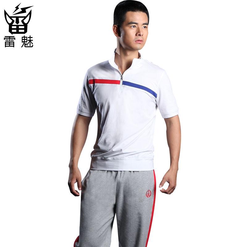 Спортивный костюм Ray charm lm13403 Для мужчин Короткие рукава ( ≧35cm ) Воротник-стойка Брюки ( длинные ) Для спорта и отдыха Контрастные цвета, Логотип бренда, В полоску
