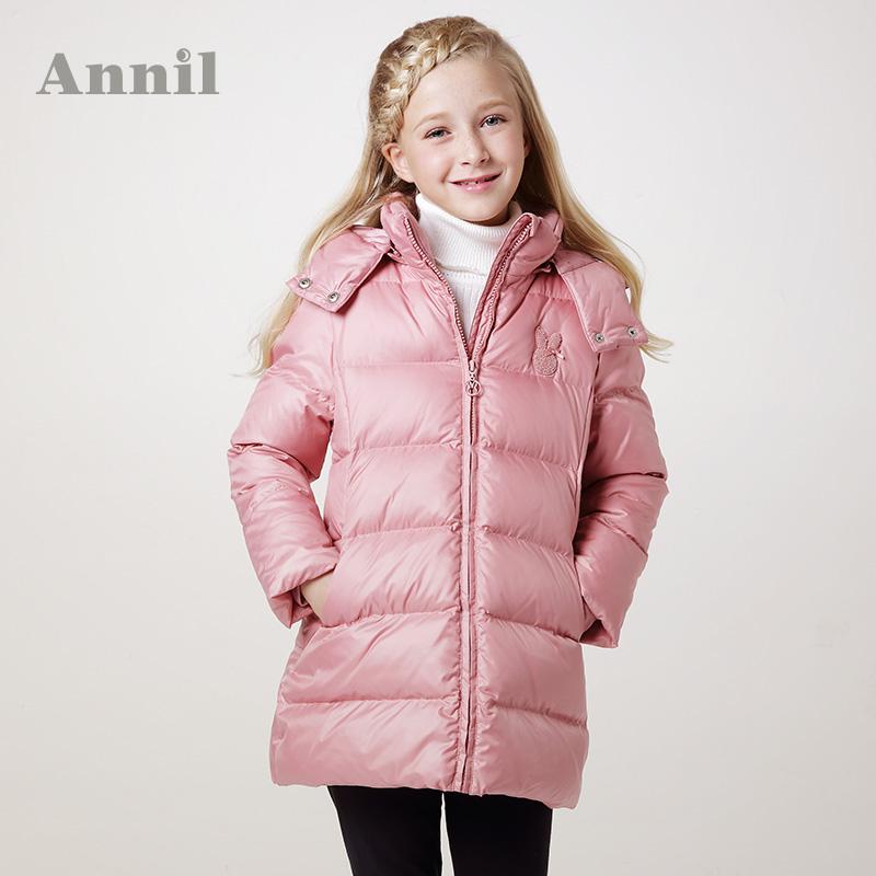 Пуховик детский Annil eg345303 Annil/annil Для отдыха 80 белый утиный пух Высокий воротник % Однотонный цвет