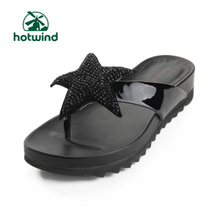 Hot air hotwind leather patent leather shoes casual shoes diamond pentagram with herringbone slippers 73H2501 in
