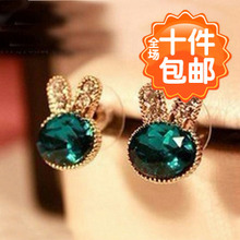 0560 explosion models Korean navy blue gem diamond jewelry bunny rabbit earrings earrings wholesale earrings Meng