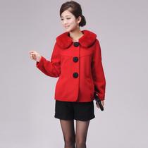 芙蓉妮冬装新款专柜正品女装短款大衣韩版长袖呢外套毛领  D780 价格:709.00