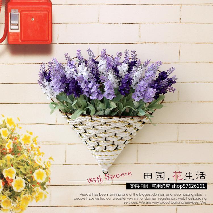 田园壁挂花 薰衣草仿真花艺 假花套装花篮装饰 欧式客厅墙壁挂件图片