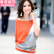 2013 spring new Korean women's t-shirt Women commuter Korean version bottoming shirt bat sleeve female short-sleeved t-shirt