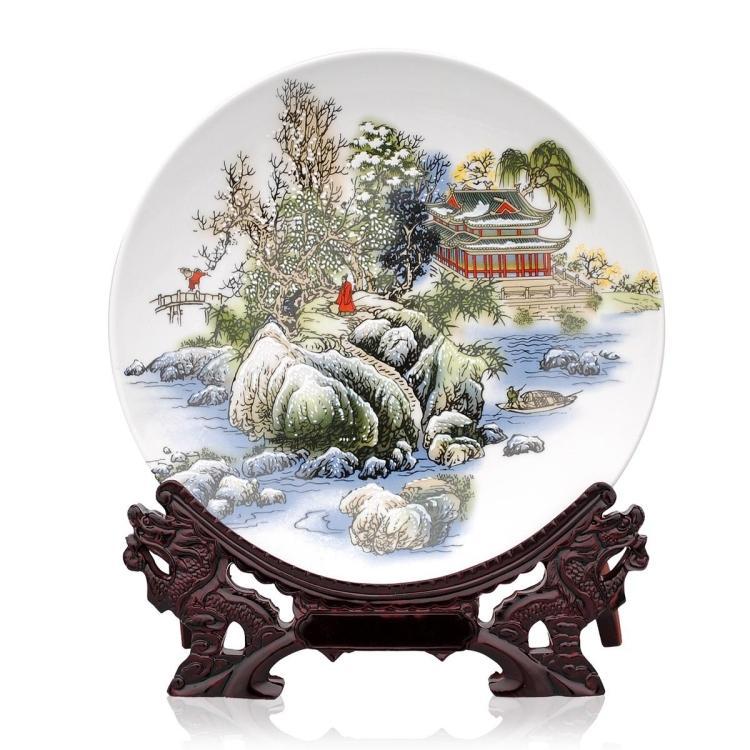 Декоративная тарелка Цзиндэчжэнь керамики, famille Роуз пейзаж пластины, пластины, настенные тарелки, декоративные тарелки, домашняя обстановка