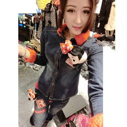 European style decorative Mickey slim denim jeans suit fur collar