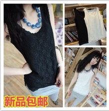 Summer Korean Women Slim small halter top vest bottoming shirt lace chiffon shirt Leggings Jeans small vest female