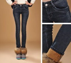 Korean style big size thick jeans, pencil pants boots pants Slim