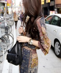 Korean style temperament long sleeve chiffon dress skirt