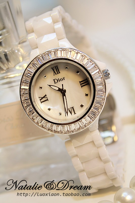 代购 Dior CHRISTAL气质名媛施钻贝壳表盘 陶瓷手表 女 白色