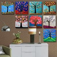 雅涂 发财树幸福树 现代装饰画客厅无框画卧室壁画简约挂画三联Y