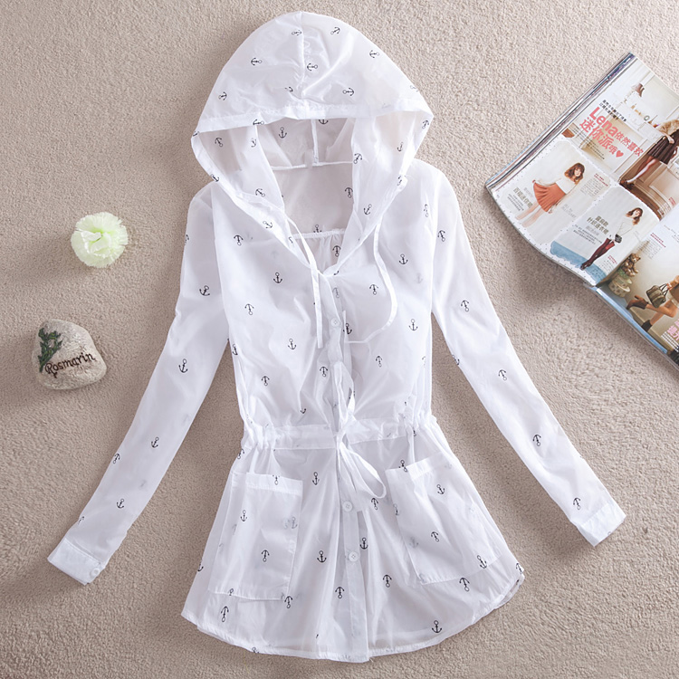 包邮 new summer sun protection clothing girls long transparent Sun-protective clothing Beach clothing UV long sleeve coat