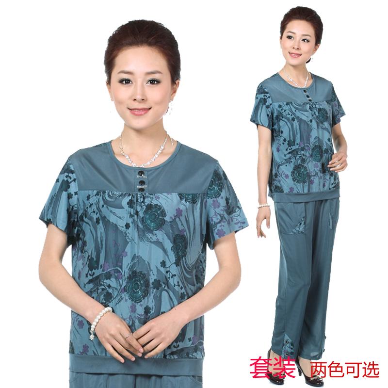 2013夏装新品 大码中老年女短袖 妈妈装短袖套装 正品奶奶装套装