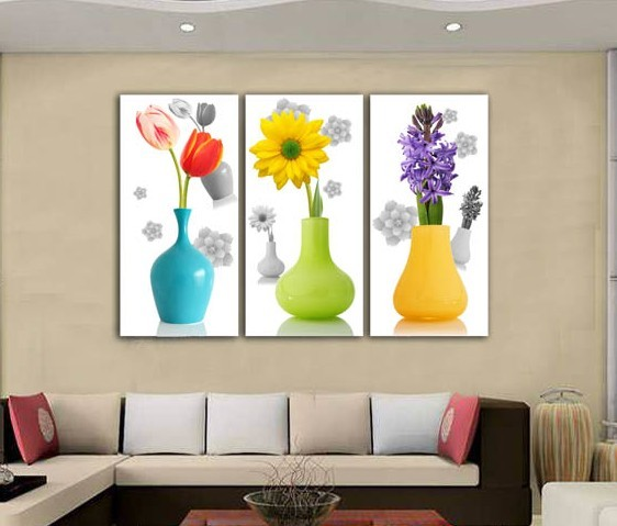 tulip sunflower purple 100, art vases living room restaurant corridor no box is animated with Hyun off mural